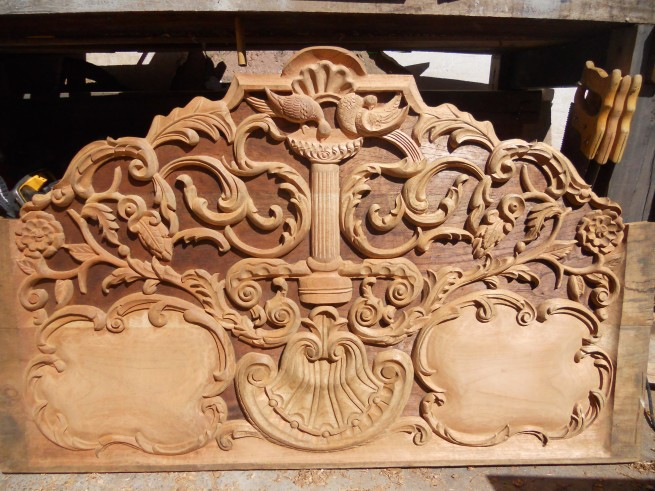 Headboard carving in process