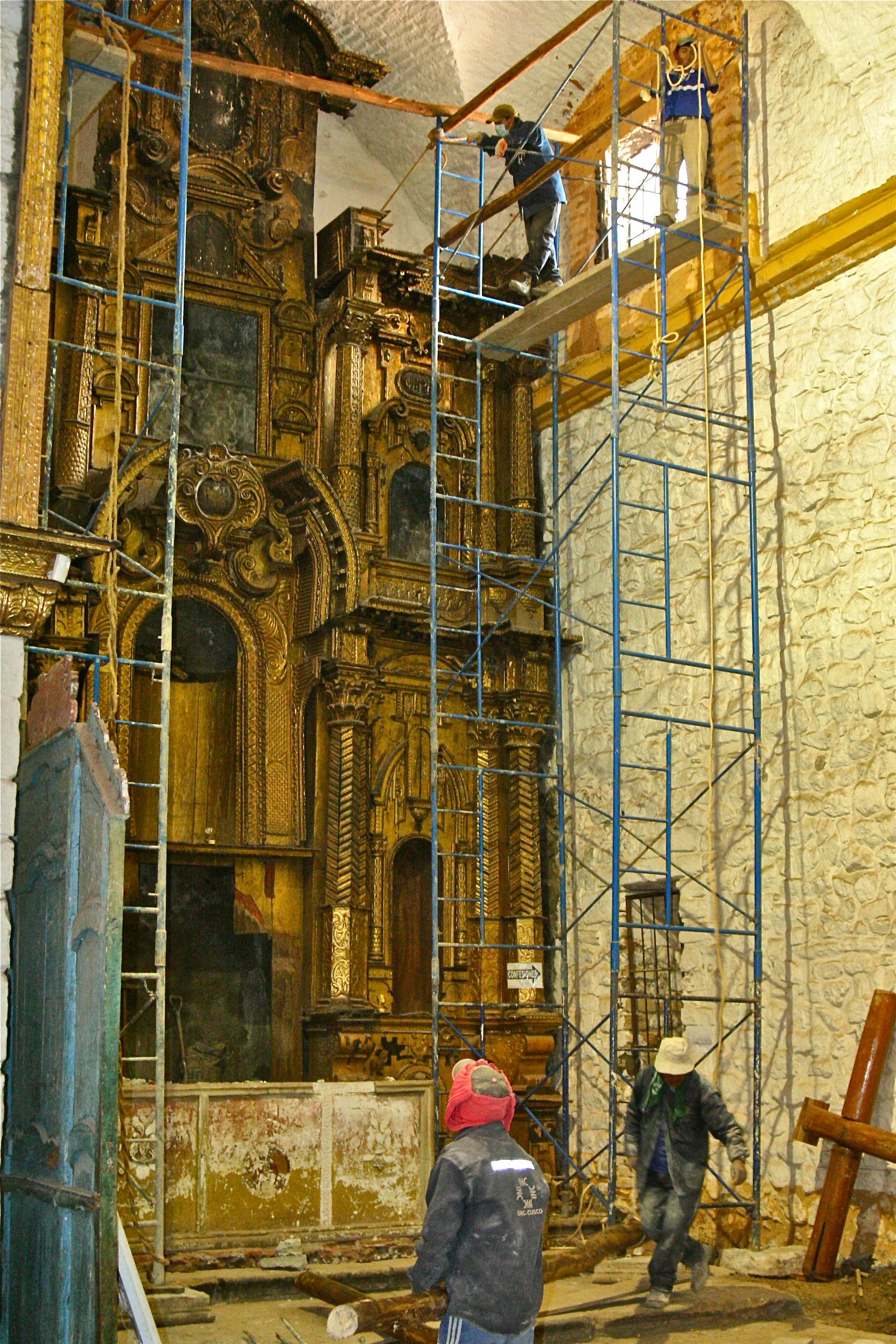 Assembly of scaffolding, used to dismantle altar